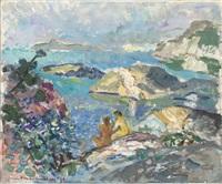 kustlandskap med badande by harald lindberg