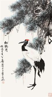 松鹤图 立轴 设色纸本 by qi mu and ren zheng