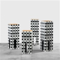 four pedestals from the ollo collection by alchimia