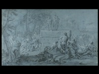 antike szenerie mit einem philosophen und einem narren auf podest, umgeben von figurenreicher staffage by philippe tidemann