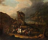 italieniserande ruinlandskap med staffage av djur och figurer by peter tillemans
