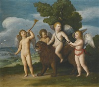 four putti with a lion and other symbols of the resurrection by johann (hans) konig