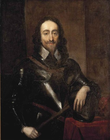 portrait of king charles i 1600 1649 half length in armour holding a baton and resting his left hand on his helmet by sir anthony van dyck
