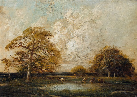 landschaft bei barbizon by jules dupré