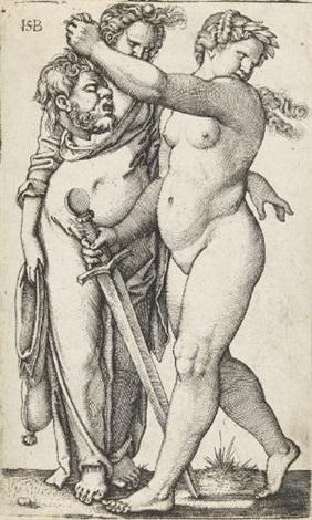 judith mit dienerin nach links schreitend by hans sebald beham