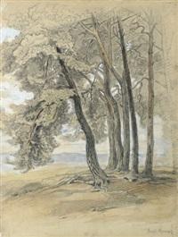baumgruppe am waldrand mit weitem blick auf einen höhenzug (taunus?) by emil rumpf