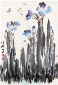 蝶恋花 镜框 设色纸本 by xiao lang