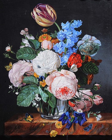 Still Life A Glass Vase Of Roses Blue Bells Tulips And Further