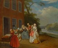 eine elegante gesellschaft bei einem gemüsehändler by pieter angillis