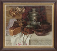 bread, bagels, a coffee grinder and a tea urn, on a table by sergei mikhailov
