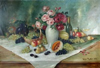 still life of grapes signeed lower right holger fisher by holger fischer