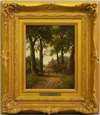 figure on a woodland path with a cottage beyond by hendrik pieter koekkoek