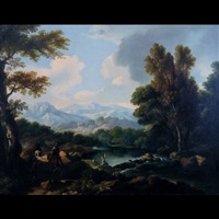 mountainous lake landscape scenes with figures conversing and on horseback (pair) by dutch school (18)