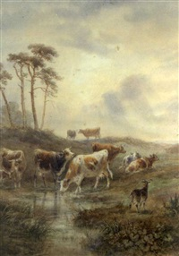 cattle and goats at pasture by henry (sr.) earp