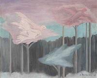 surrealistisk komposition med fugle by else thoresen