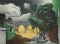paysage aux trois meules de foin by jean metzinger