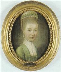 portræt af kobberstikker j.f. clemens' kone marie jeanne clemens by carl loffler