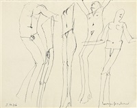 fünf figuren. skizzenblatt (5 works) by lothar fischer