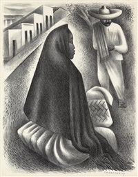 mexican street scene by miguel covarrubias