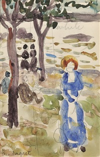 figures beneath trees at the shore (+ two seated women,pencil on paper, verso) by maurice brazil prendergast
