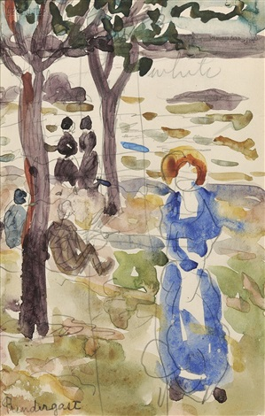figures beneath trees at the shore two seated womenpencil on paper verso by maurice brazil prendergast