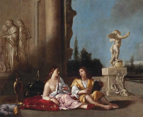 the poet and his muse at rest in a courtyard by giulio carpioni