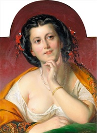 porträt einer eleganten dame by franz dobiaschofsky
