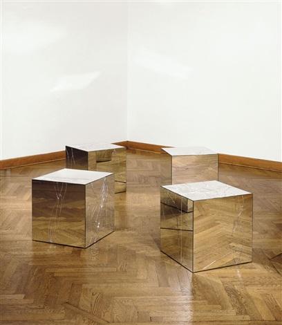 Broken mirror cubes in 4 parts by Jeppe Hein on artnet