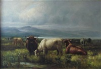 highland cattle grazing at a lochside by joseph denovan adam