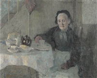 interieur mit sitzender grossmutter beim kaffee by sigisbert chretien bosch reitz