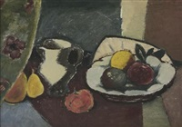 still life with fruit bowl and a white jug (recto-verso) by pranas domsaitis