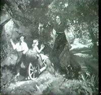 junge bauerin mit ihren kindern und schubkarre by k. hofmann
