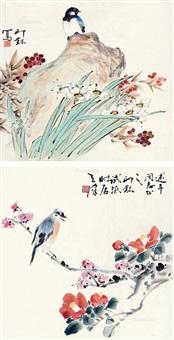 花鸟 双屏镜心 设色纸本 (in 2 parts) by xiao lang