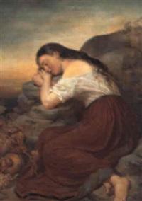 sovende ung pige på en klippe by theodor köppen