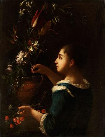 junge dame in blauem kleid an einer grossen blumenvase by anonymous italian 17