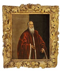 portrait of a venetian senator in a red fur-trimmed coat by domenico tintoretto