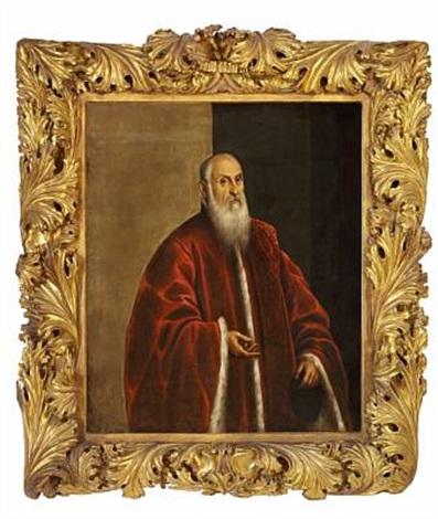 portrait of a venetian senator in a red fur trimmed coat by domenico tintoretto
