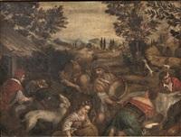 paesaggio con pastori e armenti by seguace dei bassano