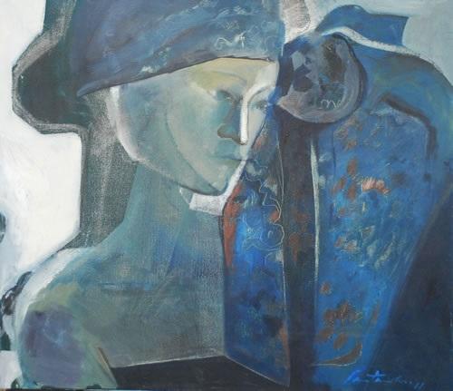 mujer con pañuelo by cristina santander