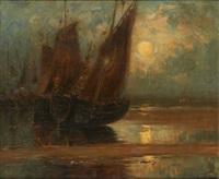 coucher de soleil sur les barques by wilhelm bataille