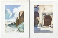 palestine, jèrusalem, les murailles de la ville (+ palestine, jèrusalem, une ancienne fontaine; 2 works) by ernest-louis lessieux