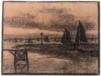 nieport, haven - the harbour of niepoort, belgium by xavier mellery