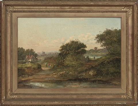 landscape with a view of a cottage and windmill by william j webbe webb