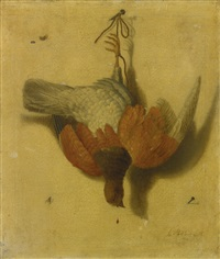 a trompe-l'oeil still life of a game bird suspended from a nail by jacobus biltius