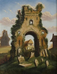 ruins and graveyard by thomas chambers