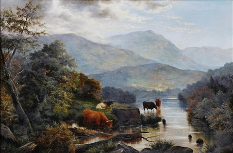 river landscape with cattle watering and another sheep on a moorside probably in north wales pair by henry j livens