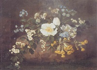 still life with dog roses, cowslips and forget-me-nots by pierre langlade