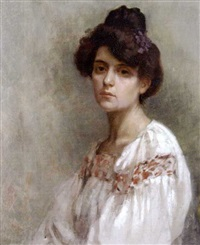portrait of marie, with violets in her hair by marion saumarez