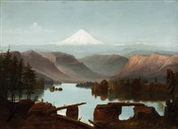 landscape with mount hood in the background by cleveland rockwell