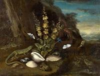 landschaft mit fröschen, schmetterlingen, muscheln und einer eidechse by adriaen de gryef